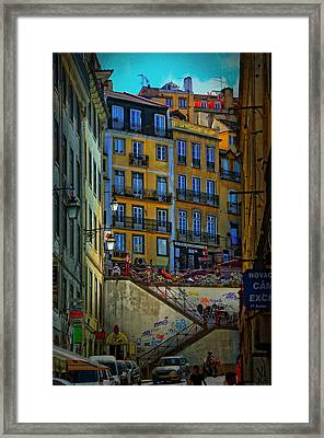 Up The Stairs - Lisbon Framed Print by Mary Machare