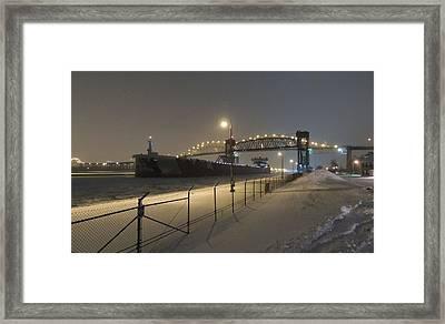 Upbound To Icebound - Edgar B Speer - Soo Locks Framed Print by Mikel Classen