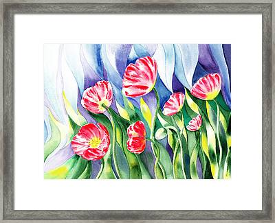 Upcoming Wind Poppy Field Framed Print by Irina Sztukowski