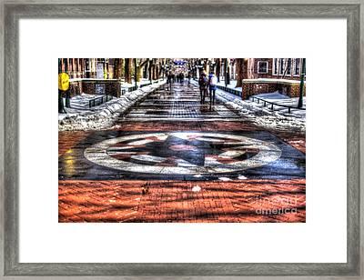Upenn Compass Locust Walk Framed Print by Mark Ayzenberg