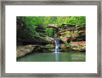 D10a-113 Upper Falls At Old Mans Cave Hocking Hills Photo Framed Print