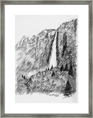 upper falls in Yosemite Framed Print