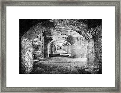 Upper Floor Brick Archway Corridors In Fort Jefferson Dry Tortugas National Park Florida Keys Usa Framed Print by Joe Fox