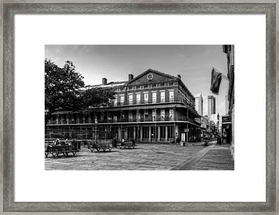 Upper Pontalba Building In Black And White Framed Print