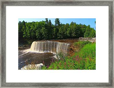 Upper Tahquamenon Falls In Summer Framed Print by Dan Sproul