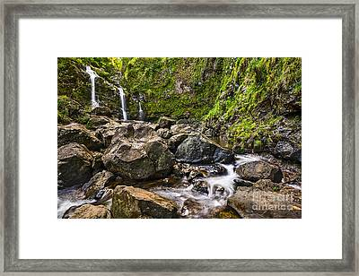 Upper Waikani Falls - The Stunningly Beautiful Three Bears In Maui. Framed Print by Jamie Pham