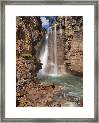 Upper Waterfall At Johnston Canyon Framed Print