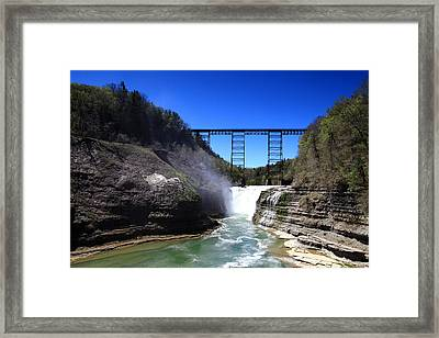 Upper Waterfalls In Letchworth State Park Framed Print by Paul Ge