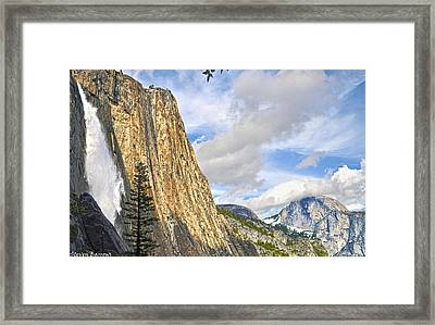 Upper Yosemite Fall And Half Dome Framed Print