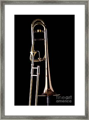 Upright Rotor Tenor Trombone On Black In Color 3465.02 Framed Print