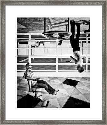 Upside Down Conversation Framed Print