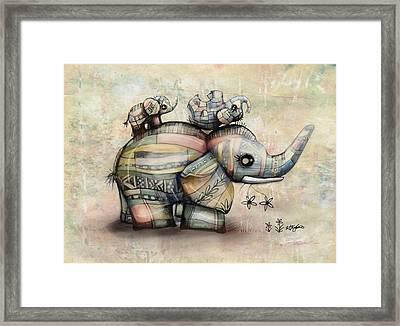 Upside Down Elephants Framed Print by Karin Taylor