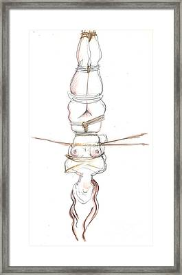 Framed Print featuring the mixed media Upside Down You Turn Me by Carolyn Weltman