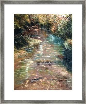 Framed Print featuring the painting Upstream by Karen Zuk Rosenblatt