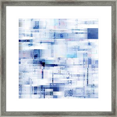 Uptown Blues On Square -abstract -art Framed Print