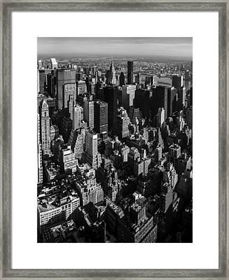 Uptown Manhattan Triptych Middle Framed Print by David Morefield