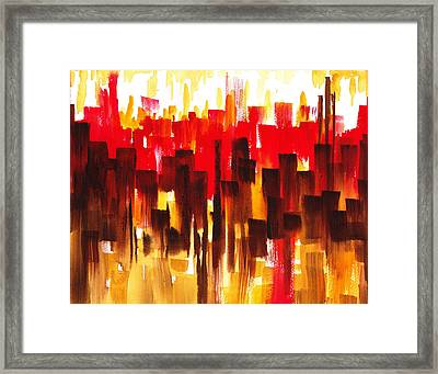 Urban Abstract Glowing City Framed Print by Irina Sztukowski