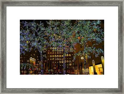 Urban Abstract Neon Glow In New York City Framed Print by Dan Sproul