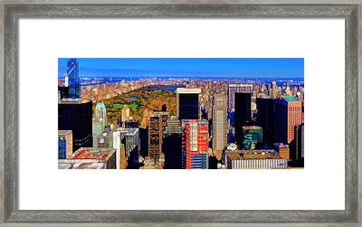 Urban Abstract New York City Skyline And Central Park Framed Print by Dan Sproul