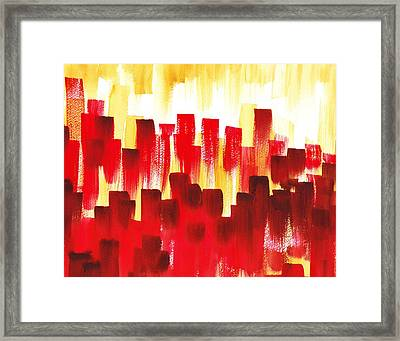 Urban Abstract Red City Lights Framed Print by Irina Sztukowski
