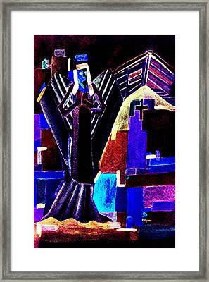 Framed Print featuring the painting Urban Angel Of Dark by Paula Ayers