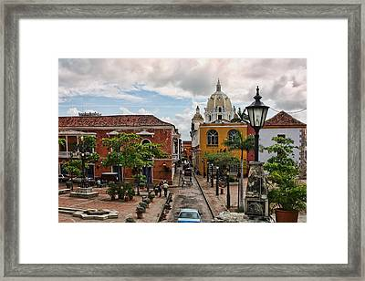 Urban Architecture Of Cartagena Framed Print by Linda Phelps