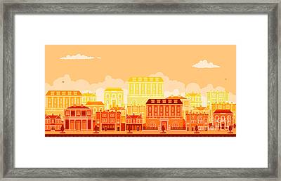 Urban Avenue Scene With Smart Townhouses Framed Print