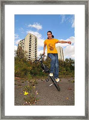 Urban Bmx Flatland With Monika Hinz Framed Print