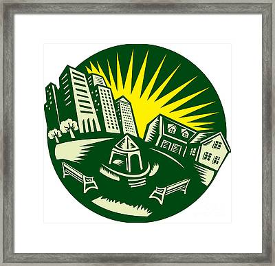 Urban Building Park House Woodcut Framed Print