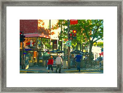 Urban Explorers Couple Walking Downtown Streets Of Montreal Summer Scenes Carole Spandau Framed Print by Carole Spandau