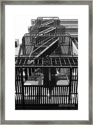 Urban Fabric - Fire Escape Stairs - 5d20592 - Black And White Framed Print