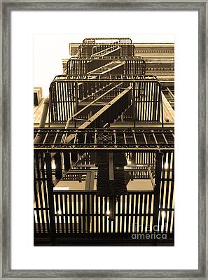 Urban Fabric - Fire Escape Stairs - 5d20592 - Sepia Framed Print by Wingsdomain Art and Photography