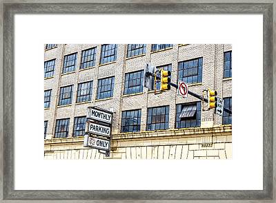 Urban Garage Monthly Parking Only Framed Print by Janice Rae Pariza