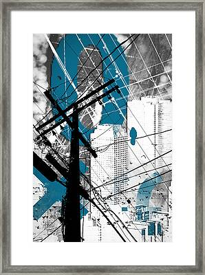 Urban Grunge Blue Framed Print by Melissa Smith