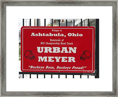 Urban Meyer Framed Print