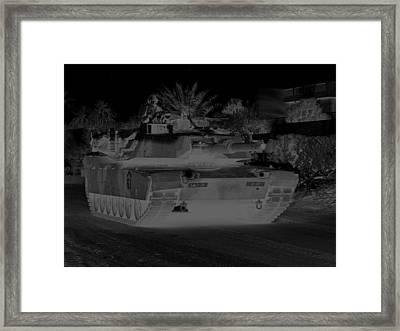 Urban Night Patrol Black And White M1 Abrams Tank Framed Print