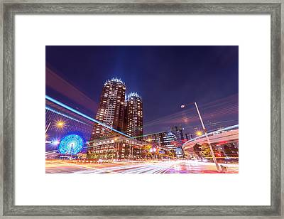 Urban Night View At Tokyo Ariake Framed Print by Photography By Zhangxun