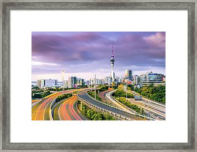 Urban Roads With Traffic Leading To Framed Print by Matteo Colombo