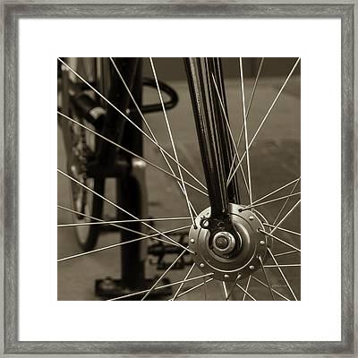 Urban Spokes In Sepia Framed Print by Steven Milner