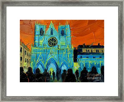 Urban Story - The Festival Of Lights In Lyon Framed Print