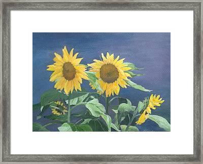 Urban Sunflowers Original Colorful Painting Sunflower Art Decor Sun Flower Artist K Joann Russell    Framed Print