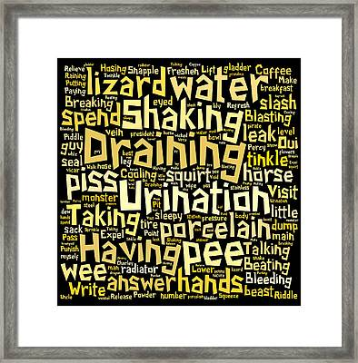 Urination Word Cloud Framed Print by Philip Ralley