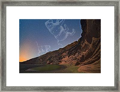Ursae Constellations Over Volcanic Lagoon Framed Print by Juan Carlos Casado (starryearth.com)