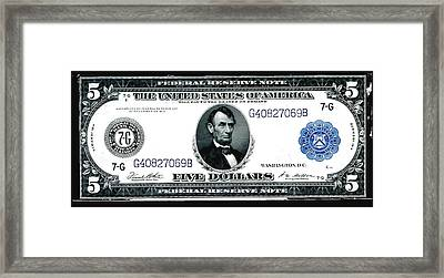 U.s. 1914 Five Dollar Federal Reserve Note Fr 871a Framed Print by Lanjee Chee