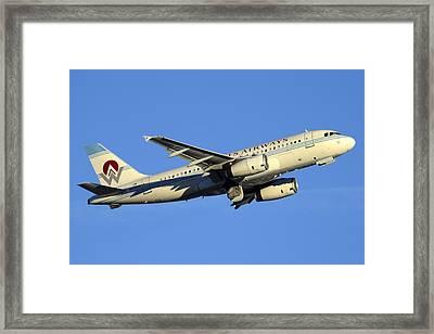 Us Airways Airbus A319-132 N828aw America West Legacy Phoenix Sky Harbor December 24 2014  Framed Print by Brian Lockett