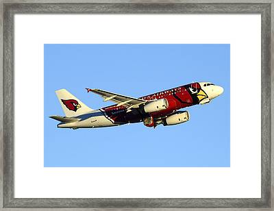 Us Airways Airbus A319-132 N837aw Arizona Cardinals Phoenix Sky Harbor December 24 2014  Framed Print by Brian Lockett