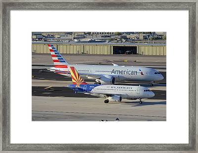Us Airways Airbus A319 N826aw Arizona American Boeing 787 N801ac Phoenix Sky Harbor March 10 2015 Framed Print by Brian Lockett