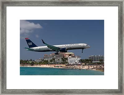U S Airways At St Maarten Framed Print