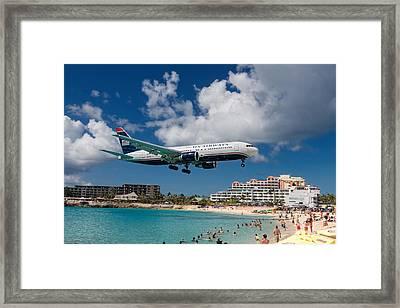 U S Airways Landing At St. Maarten Framed Print