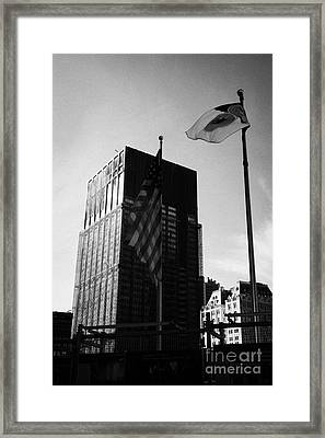 Us And New York Flags In Front Of Deutsche Bank Building Due For Demolition Liberty Street Ground Ze Framed Print